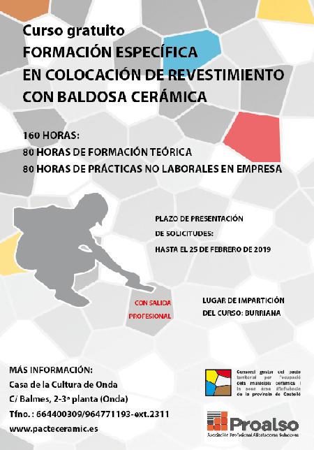 CURSO COLOCACIÓN DE REVESTIMIENTO CON BALDOSA CERÁMICA