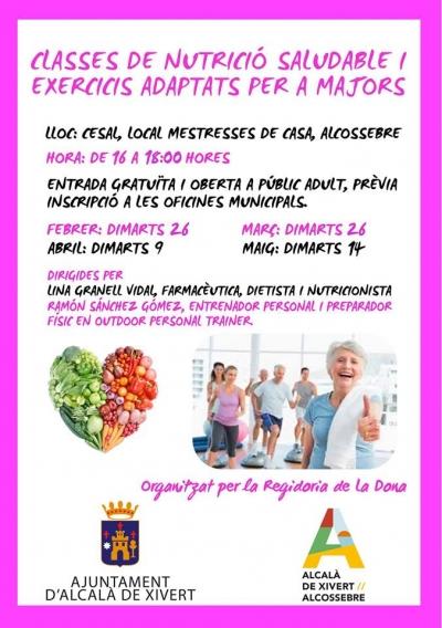 Clases de Nutrición Saludable y ejercicios adaptados para mayores.