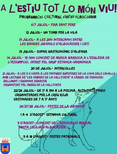 Cap de setmana cultural, 13 i 14 de juliol, a Albocàsser