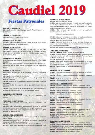 FIESTAS PATRONALES EN EL CLAUDIEL 2019.