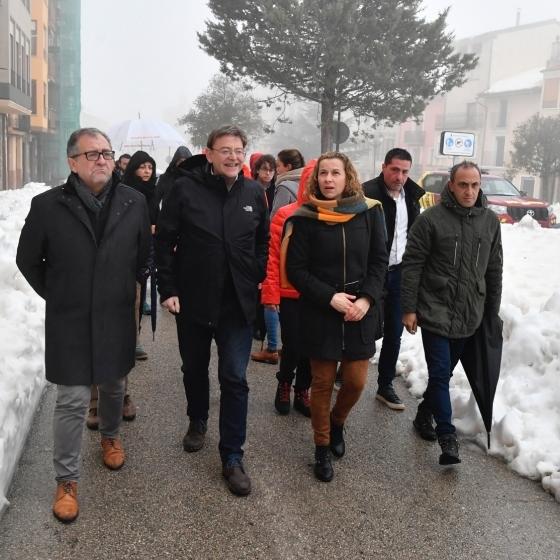 José Martí visita Vilafranca, epicentre del temporal de neu a Castelló