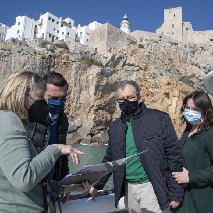 La Diputació de Castelló assumirà la redacció d'un pla d'acció per a protegir i consolidar els penya-segats del castell de Peníscola